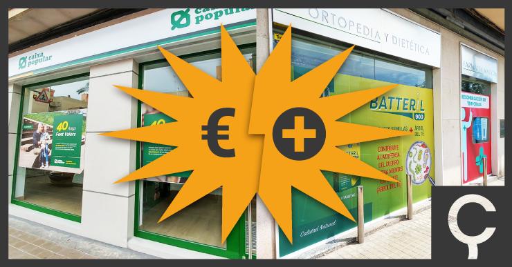 escaparate de farmacia y banco-